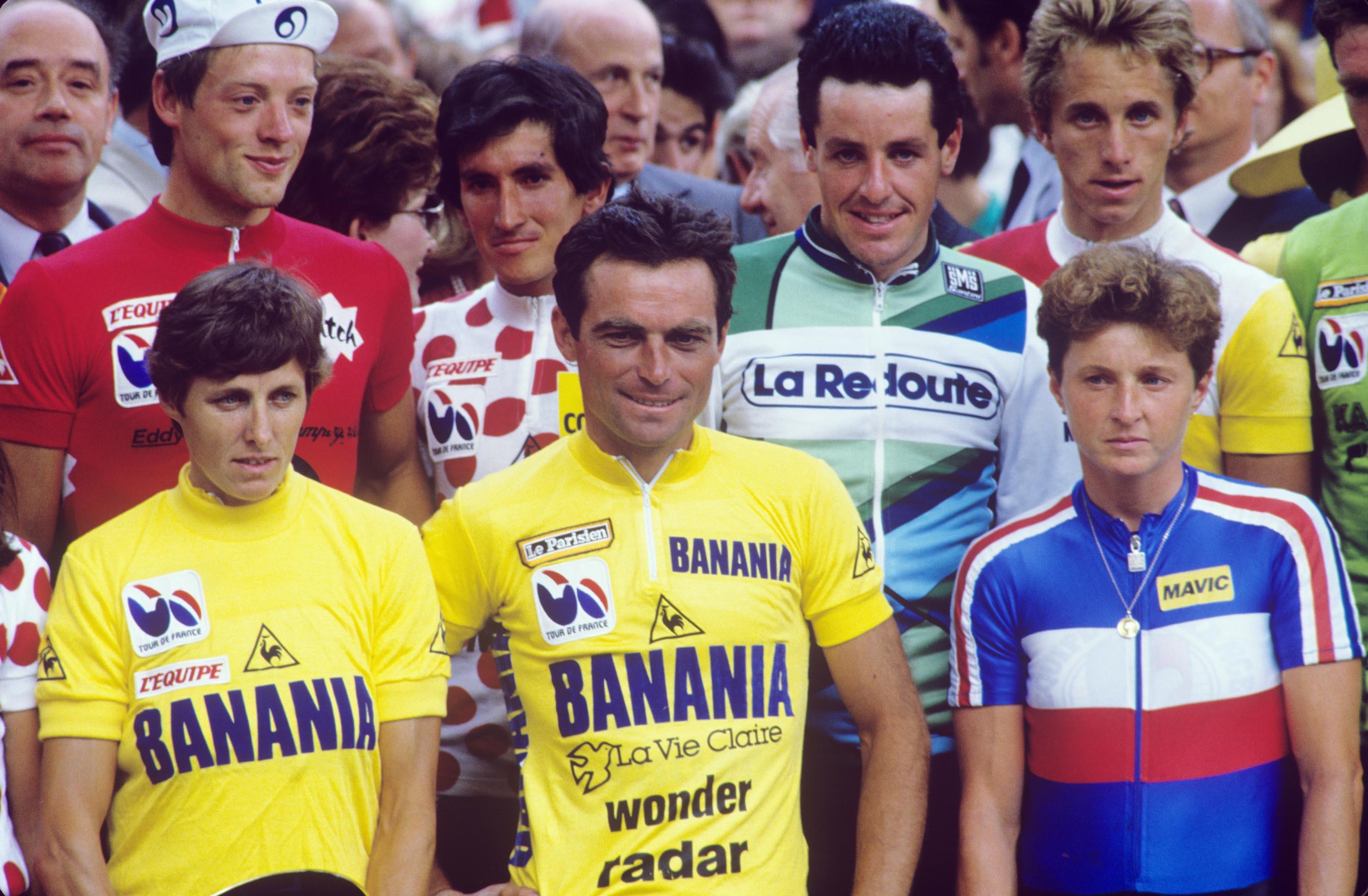 CYCLISME - TOUR DE FRANCE 1985 - 1985 canins (maria) - (ita) - hinault (bernard) - (fra) - damiani (dominique) - (fra) - lieckens (jos) - (bel) - herrera (luis) - (col) - roche (stephen) - (irl) - lemond (greg) - (usa) -