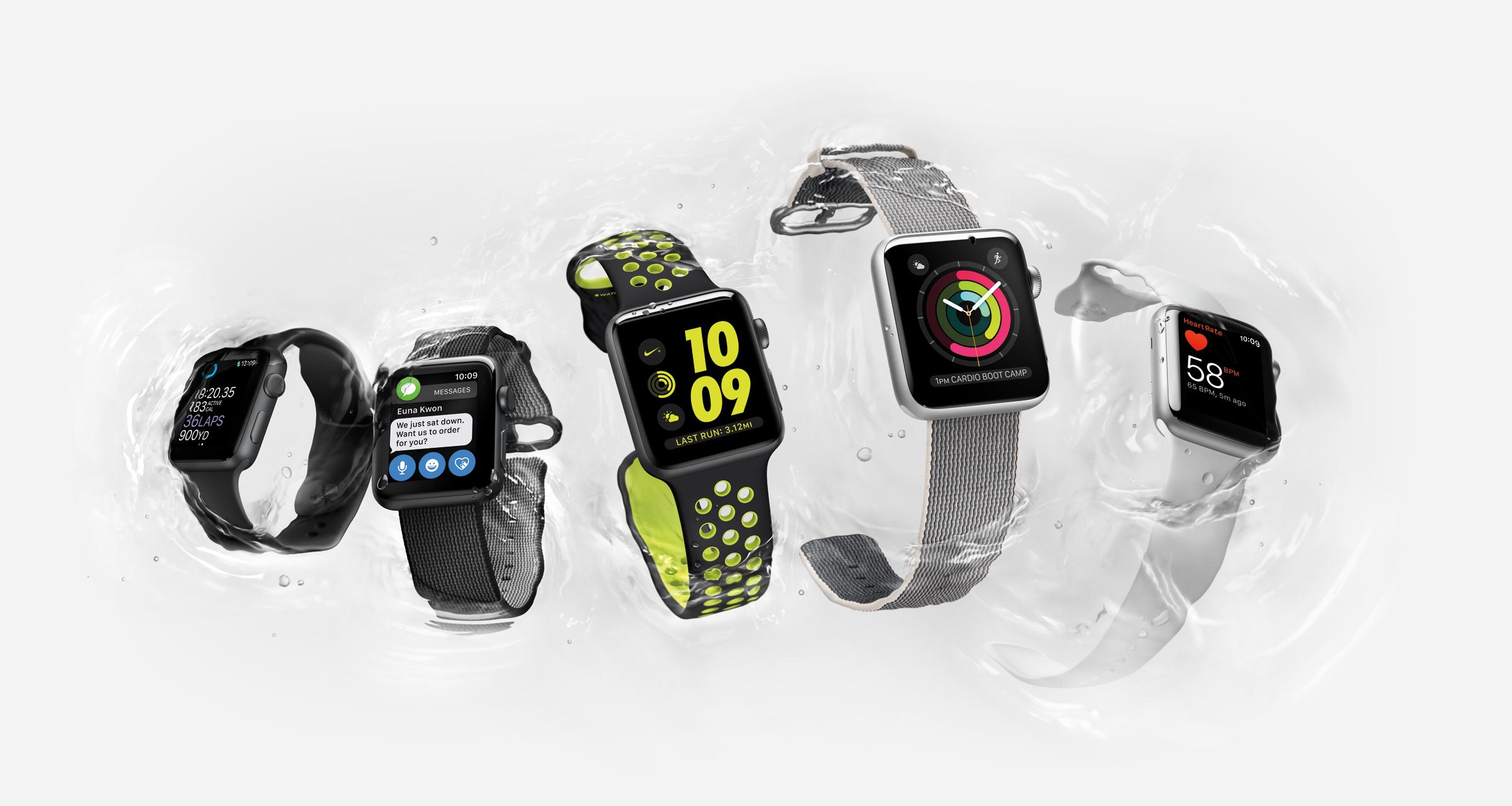 Variert: Apple Watch fås i flere versjoner med ulik spesifikasjon og utseende. Vi har testet den fluor-fargede i midten. Foto: Apple