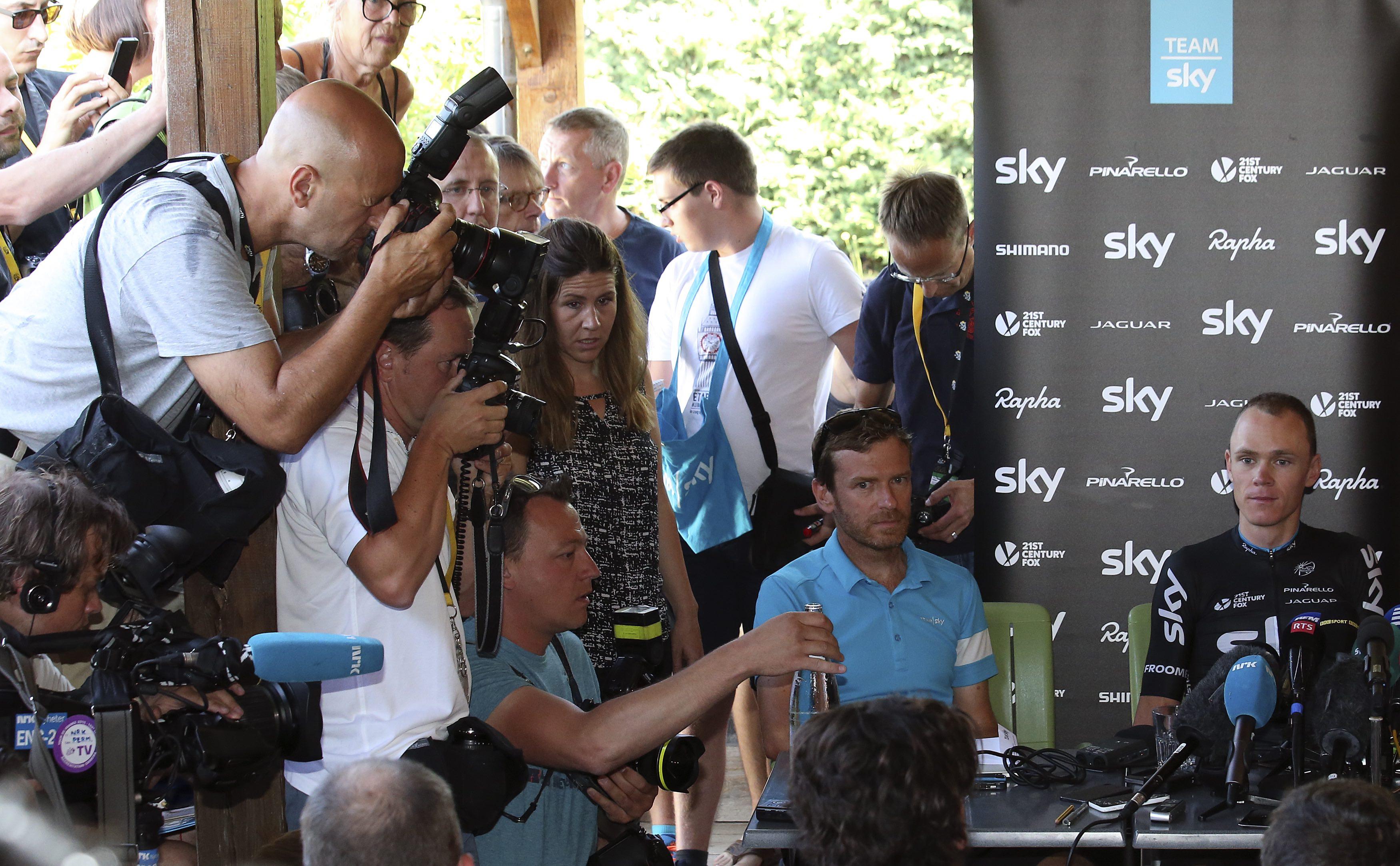 Data-bråk: Team Sky må ut med Froomes prestasjonsdata for å roe gemyttene under Touren i 2015. Foto Sykkelmagasinet