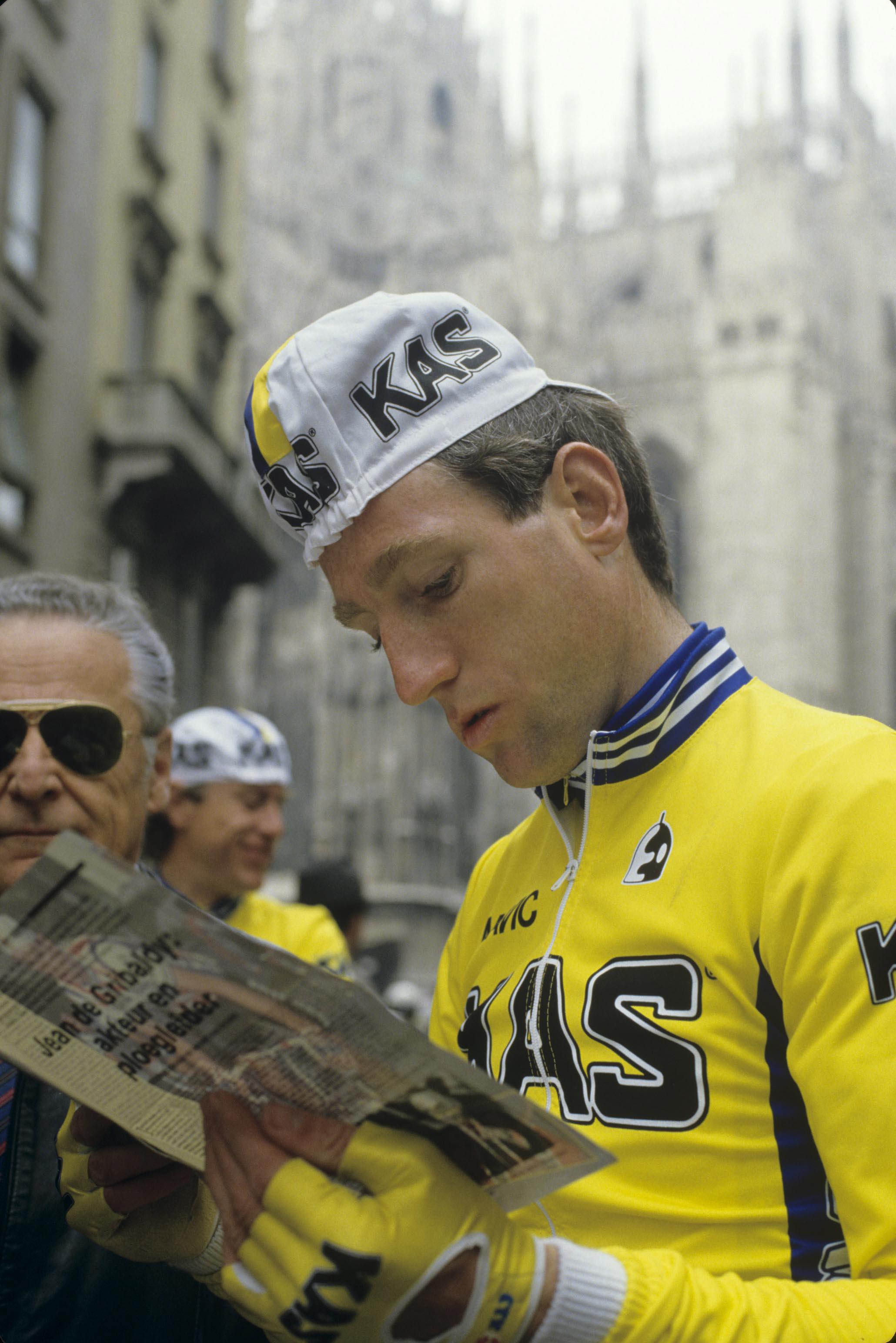 Skapte overskrifter: Hestehandleren Sean Kelly. Her fra Milano-Sanremo i 1986. Foto: Presse Sports