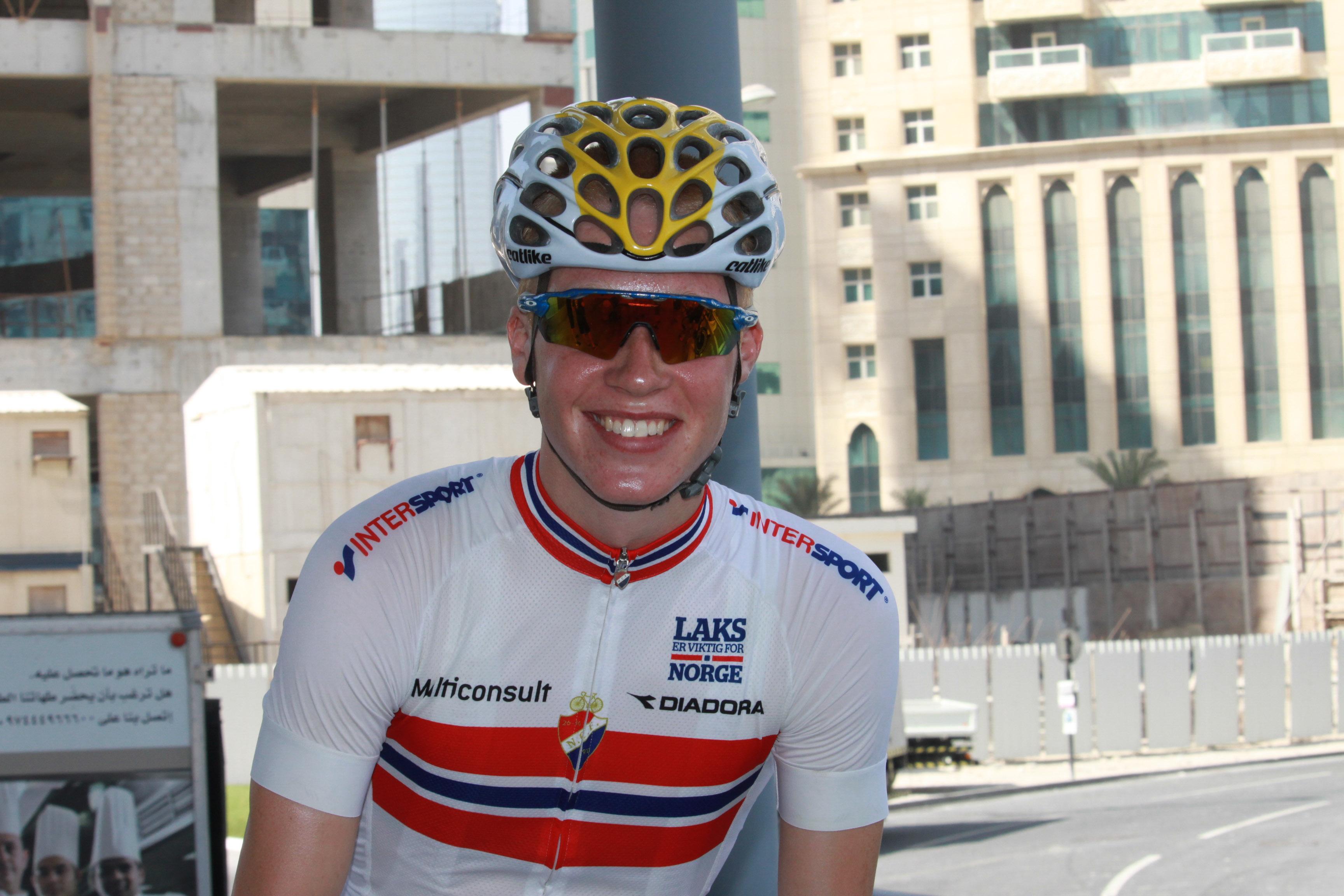 VM-opptur: Tross velt på tempoen fikk Leknessund en god erfaring fra sykkel-VM i Doha. Foto: Norges Cykleforbund